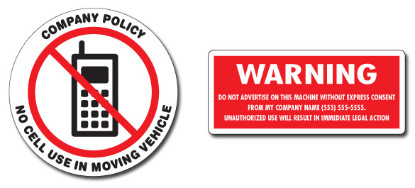 Custom Company Policy Warning Label Decals