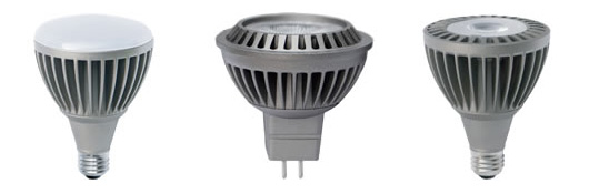 Common examples of LED light bulbs that fit in existing fixtures