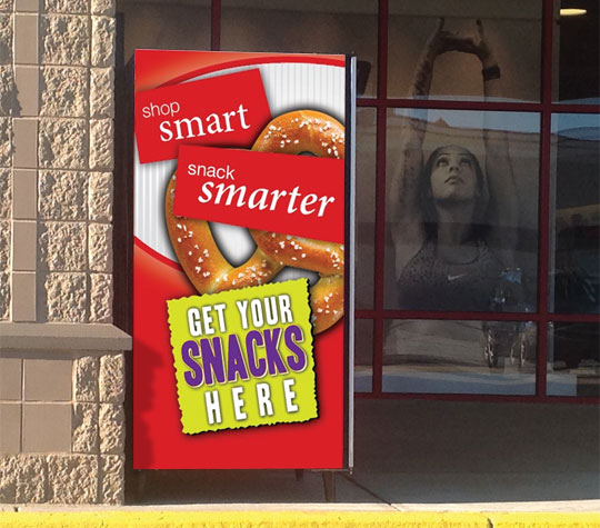 Vending Machine front glass graphic healthy snack promotion