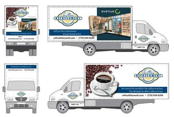 Select image for expanded view of a custom designed panel van graphic wrap package design